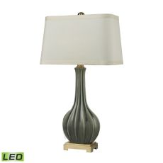 Fluted Ceramic Led Table Lamp In Grey Glaze