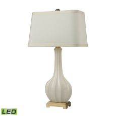 Fluted Ceramic Led Table Lamp In White Glaze