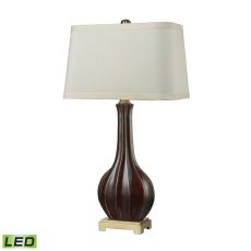 Fluted Ceramic Led Table Lamp In Red Glaze
