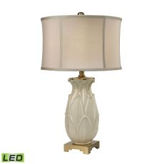 Ceramic Leaf Led Table Lamp In Cream Crackle And Antique Brass