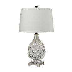 Hand Formed Ceramic Table Lamp In White Pearlescent Glaze