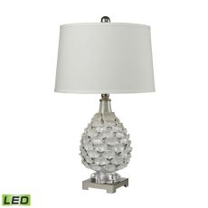 Hand Formed Ceramic Led Table Lamp In White Pearlescent Glaze