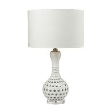 Open Work Table Lamp In Gloss White Ceramic