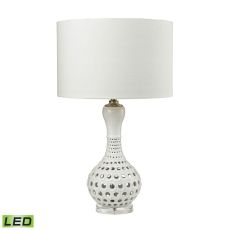 Open Work Led Table Lamp In Gloss White Ceramic