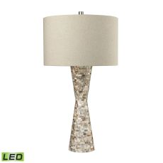 Mother Of Pearl Waisted Led Table Lamp With Sand Linen Shade
