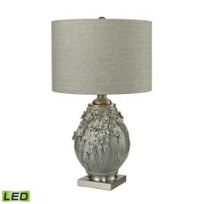 Hand Formed Foliage Led Table Lamp In Grey Glazed Ceramic
