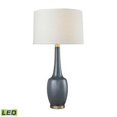 Modern Vase Ceramic Led Table Lamp In Navy Blue