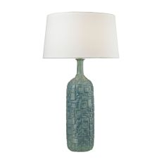 Cubist Ceramic Bottle Lamp In Blue