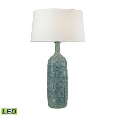 Cubist Ceramic Led Bottle Lamp In Blue