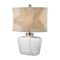 Clear Glass Bottle Table Lamp in Polished Nickel