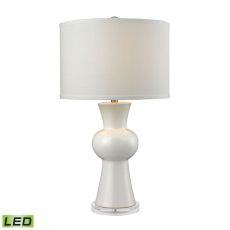 White Ceramic Led Table Lamp With Textured White Linen Hardback Shade
