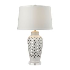 Openwork Ceramic Table Lamp In White With White Shade