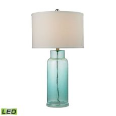 Glass Bottle LED Table Lamp in Seafoam Green