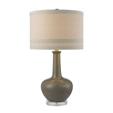 Ceramic Table Lamp In Grey Glaze And Acrylic