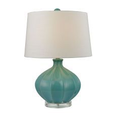 Organic Ceramic Table Lamp In Seafoam Glaze