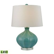 Organic Ceramic Led Table Lamp In Seafoam Glaze