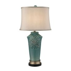 Organic Flowers Table Lamp In Seafoam Finish
