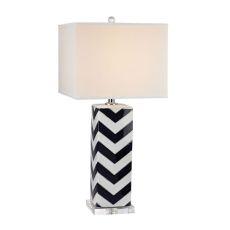 Chevron Table Lamp In Navy