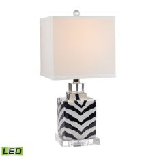Animal Print Led Table Lamp In Navy And White Ceramic