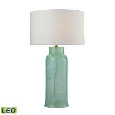 Glass Bottle Led Table Lamp In Seafoam Green