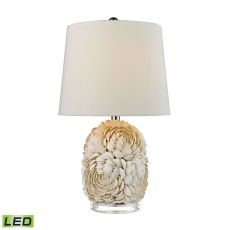 Natural Shell Led Table Lamp With Off White Linen Shade