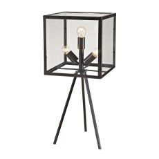 Workshop Glass Cube Table Lamp In Aged Bronze