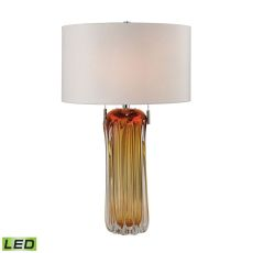 Ferrara Free Blown Glass Led Table Lamp In Amber