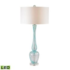 Swirl Glass Led Table Lamp In Light Blue With White Faux Silk Shade