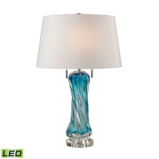 Vergato Free Blown Glass Led Table Lamp In Blue