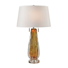 Modena Free Blown Glass Table Lamp In Amber
