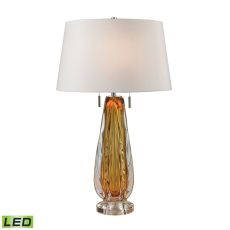 Modena Free Blown Glass Led Table Lamp In Amber
