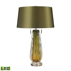 Modena Free Blown Glass Led Table Lamp In Green