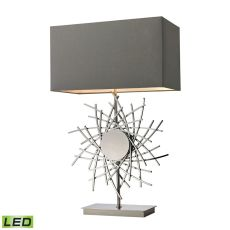 Cesano Abstract Formed Metalwork Led Table Lamp In Polished Nickel