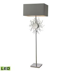 Cesano Abstract Formed Metalwork Led Floor Lamp In Polished Nickel