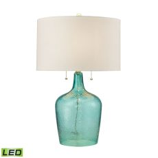 Hatteras Hammered Glass Led Table Lamp In Seabreeze