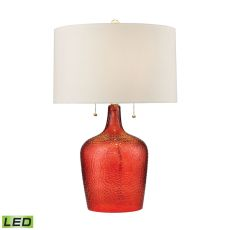Hatteras Hammered Glass Led Table Lamp In Blood Orange