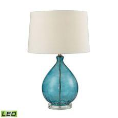 Wayfarer Glass Led Table Lamp In Teal