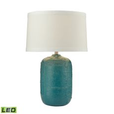 Patchwork Ceramic Led Table Lamp In Mediterranean Blue Finish