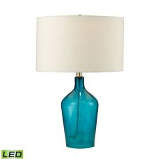 Hideaway Glass Led Table Lamp In Teal
