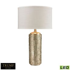 Trump Home Geometric Pattern Drum Led Table Lamp In Silver Leaf