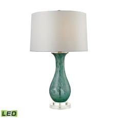 Swirl Glass Led Table Lamp In Aqua