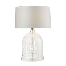 Landscape Painted Bell Glass Table Lamp In Clear And White