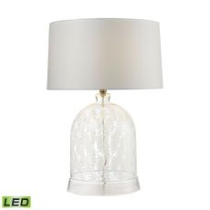 Landscape Painted Bell Glass Led Table Lamp In Clear And White