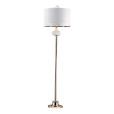 White Ribbed Cube Floor Lamp
