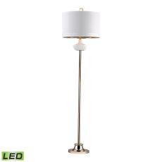 White Ribbed Cube Led Floor Lamp