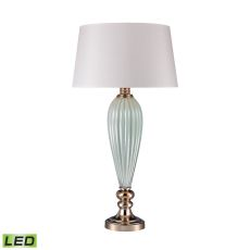 Mint Ribbed Led Lamp With Gold Accents