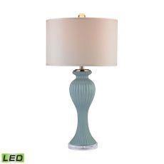 Mint Ribbed Tulip Led Table Lamp