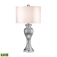 Silver Ribbed Tulip LED Table Lamp