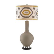 Matte Grey Lamp With Patterned Shade