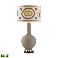 Matte Grey Led Lamp With Patterned Shade